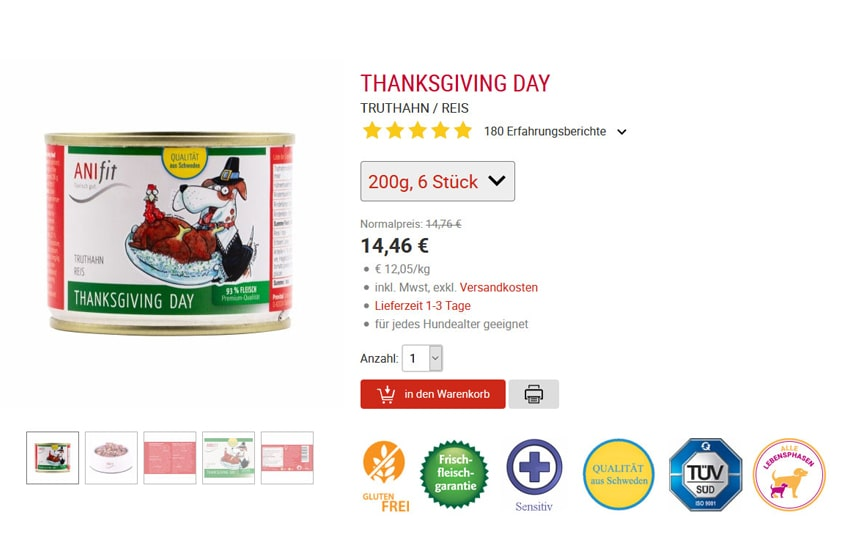 ANIfit Hundefutter Thanksgiving Day