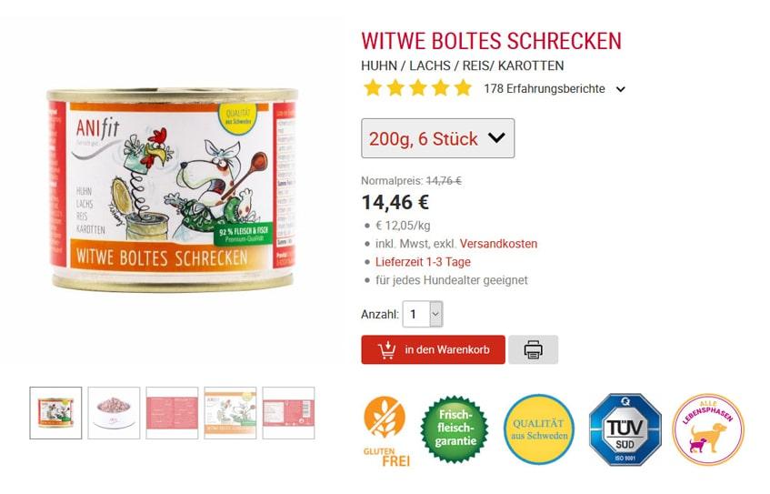 ANIfit Hundefutter Witwe Boltes Schrecken